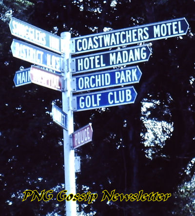 Sign at Madang Resort about 1984
